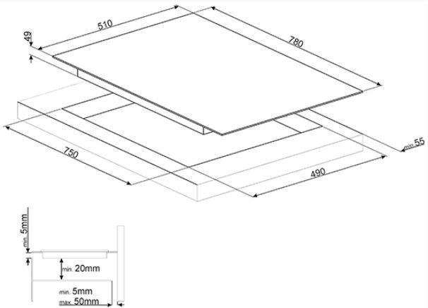Smeg - SI7844B Inductie kookplaat
