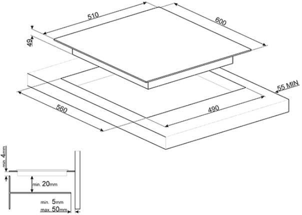 Smeg - SI7643B Inductie kookplaat