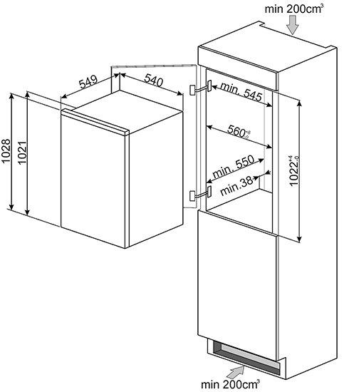 Smeg - S3C100P1 Inbouw koelkasten rond 102 cm