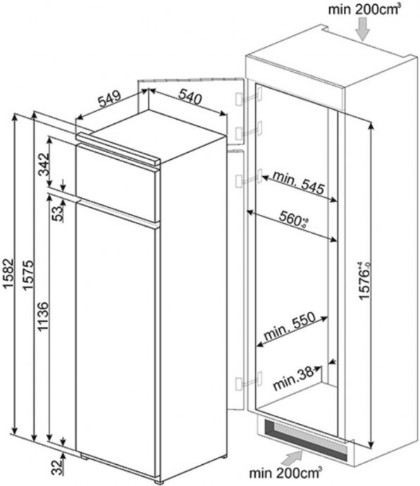 Smeg - D3150P1 Inbouw koelkasten rond 158 cm
