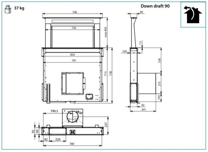Falmec - DOWN90D3BL Downdraft