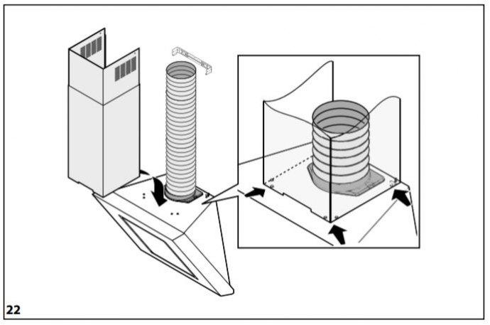 Whirlpool - AKR8081IX Schuine afzuigkap