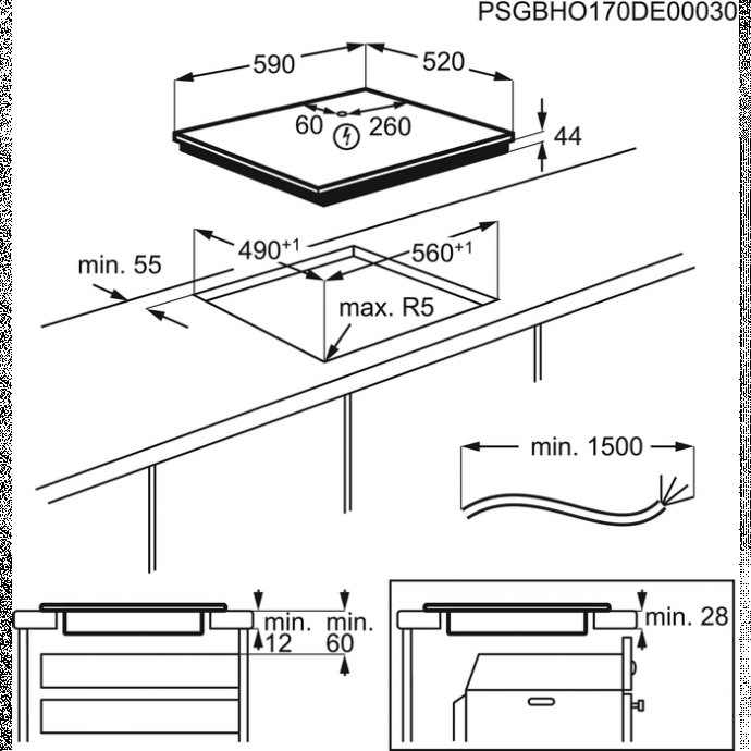 AEG - IAE64411FB Inductie kookplaat