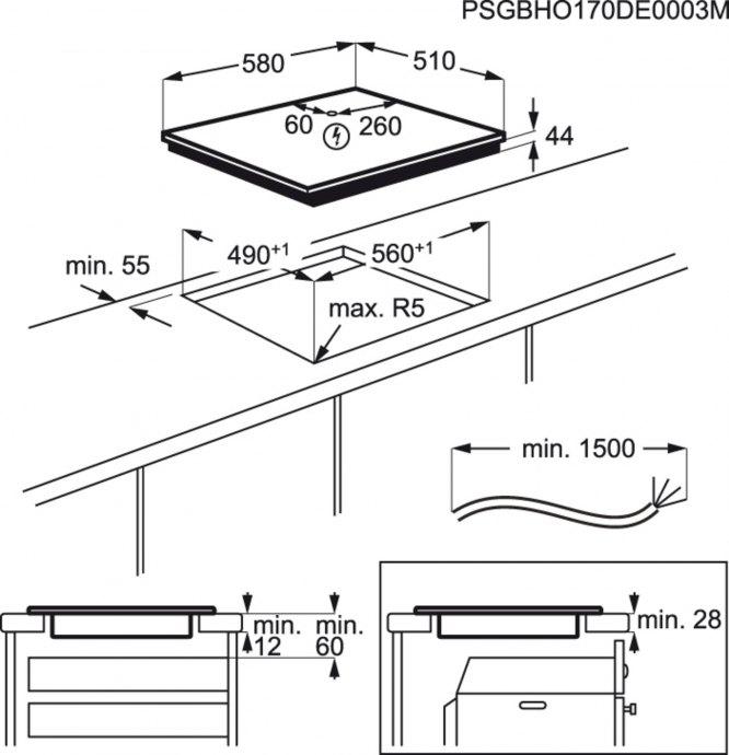 AEG - IKK6440SCB Inductie kookplaat
