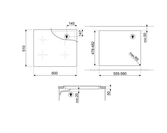 Smeg - SI4642B Inductie kookplaat