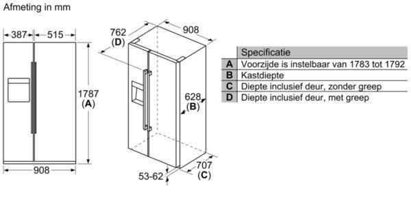 Bosch - KAI93VIFP Side By Side koelkast