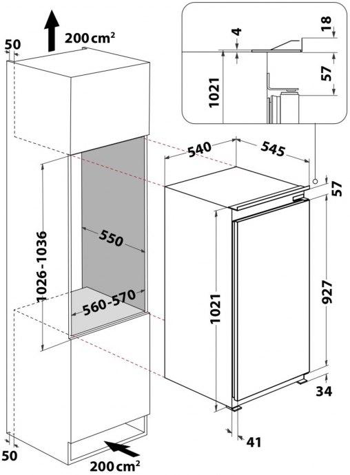Whirlpool - ARG100711 Inbouw koelkasten rond 102 cm