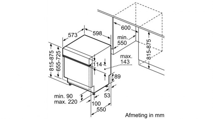 Bosch - SMI4HBS44E Half geintegreerde vaatwasser