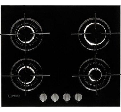 Indesit PR642IBK Gas op glas kookplaat