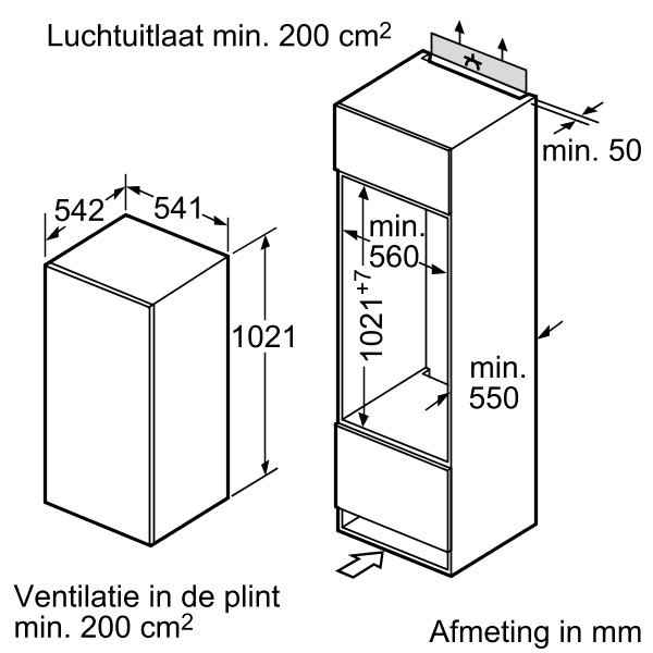Siemens - KI20LV20 Inbouw koelkasten rond 102 cm