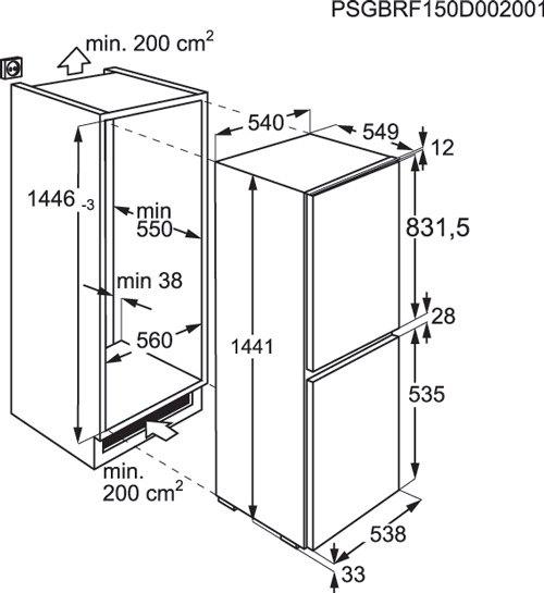 Zanussi - ZBB24431SA Inbouw koelkasten rond 140 cm