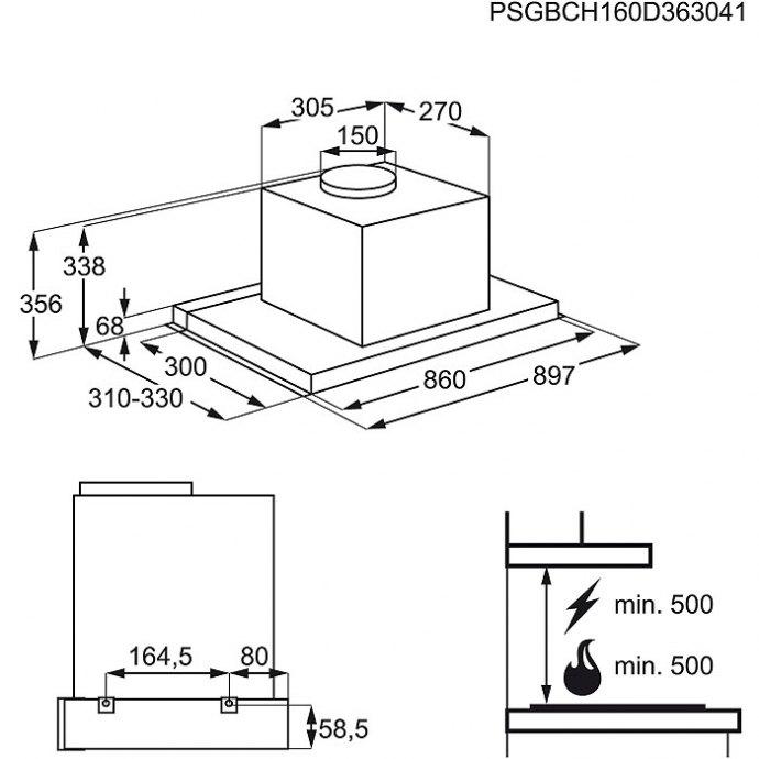 AEG - DPE5950G Vlakscherm afzuigkap