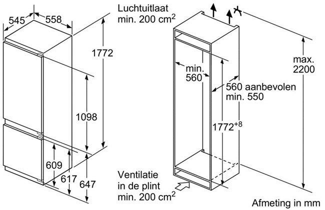 Bosch - KIS87AF30 Inbouw koelkasten vanaf 178 cm
