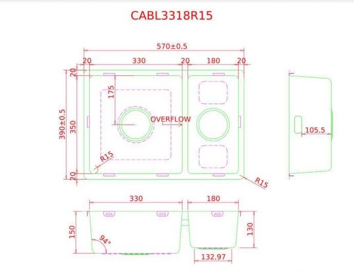 Caressi - CABL3318R15 Spoelbakken