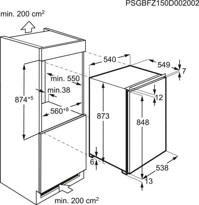 AEG - ABB68821LS Inbouw vriezers