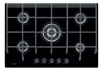 AEG HG775450VB Gas op glas kookplaat