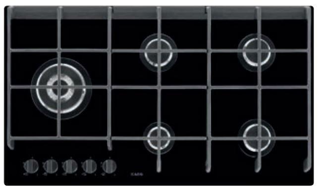 AEG - HG975550VB Gas op glas kookplaat