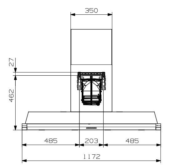 Steel - AKL120SS Wandschouw afzuigkap