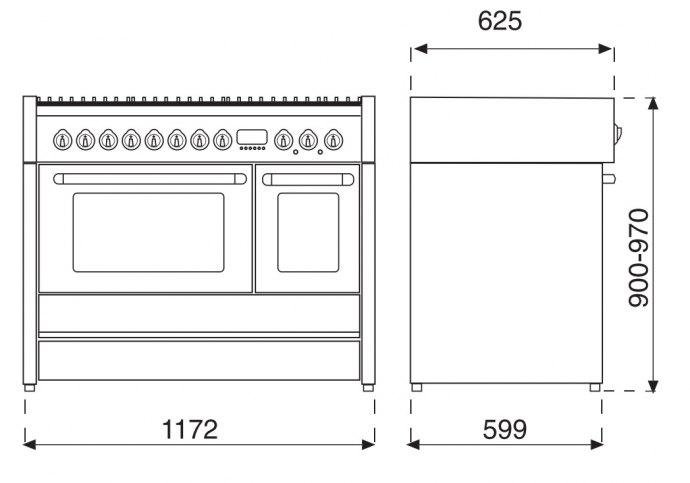 Steel - G12SF6TBR Fornuis 120 cm