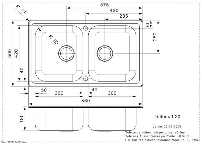 Reginox - R02230 Spoelbakken