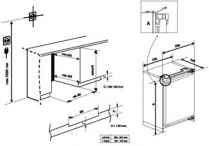 Beko - BU1153 Onderbouw koelkast