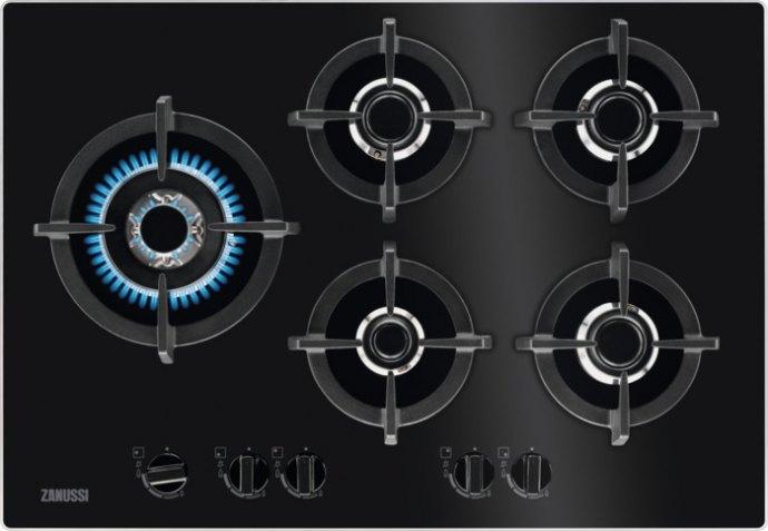 Zanussi ZGO78530BA Gas op glas kookplaat
