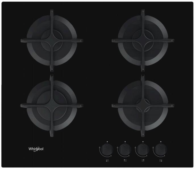 Whirlpool GOB616NBNL Gas op glas kookplaat
