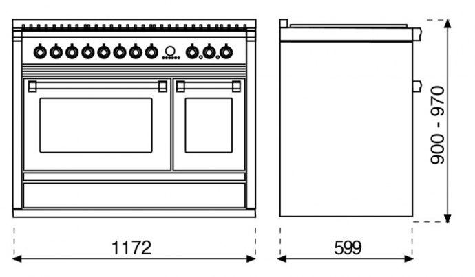 Steel - A12FF6TAN Fornuis 120 cm