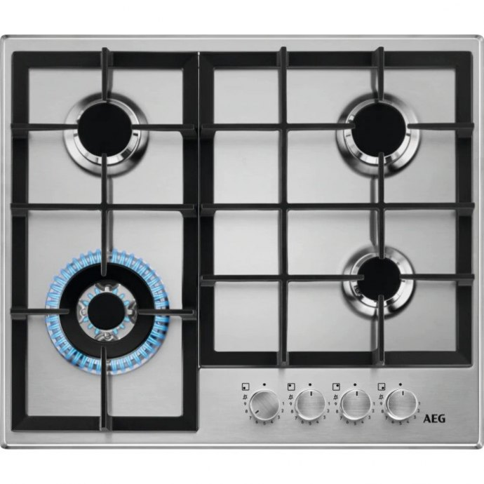 AEG HGB64420SM Gas op glas kookplaat