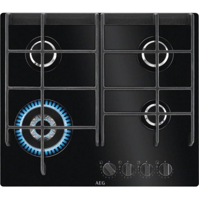 AEG HVB64420IB Gas op glas kookplaat