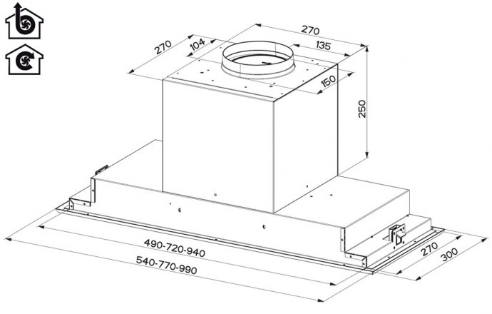 AEG - X78264MG10 Inbouwunit afzuigkap