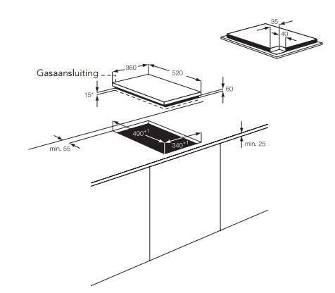 AEG - HC412001GB Domino gas op glas kookplaat