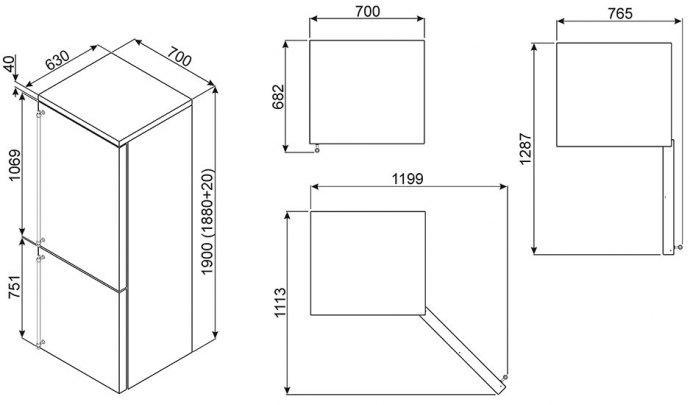 Smeg - FA390X4 Vrijstaande koelkast