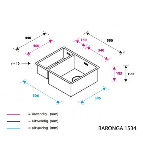 ABK - BAR1534 Spoelbakken